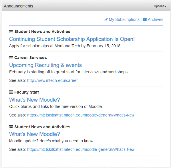 Announcements are borken in to categories and displayed in the Announcements Portlet