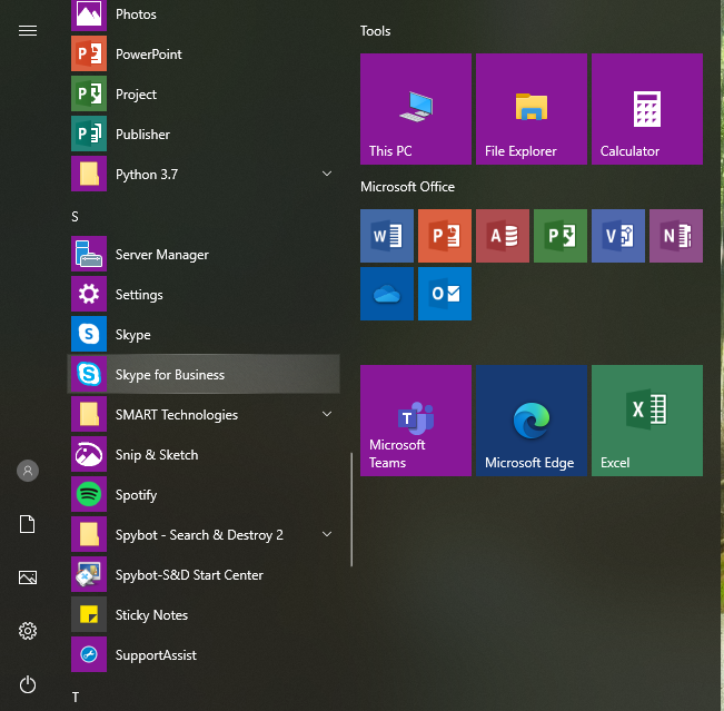 Locate Skype for Business in the Windows Start Menu