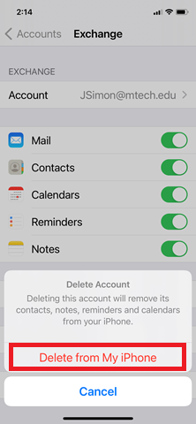 iPhone settings highlighting Delete from My Iphone button