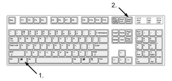 Image result for keyboard Windows Key+Pause Break button highlighted