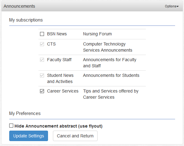 Each announcement category has a check box. Checking the box means you are subscribed.