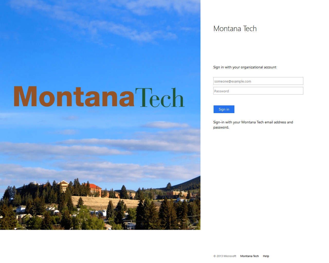 A Montana Tech Campus Picture on the left and the sign in boxes on the right.