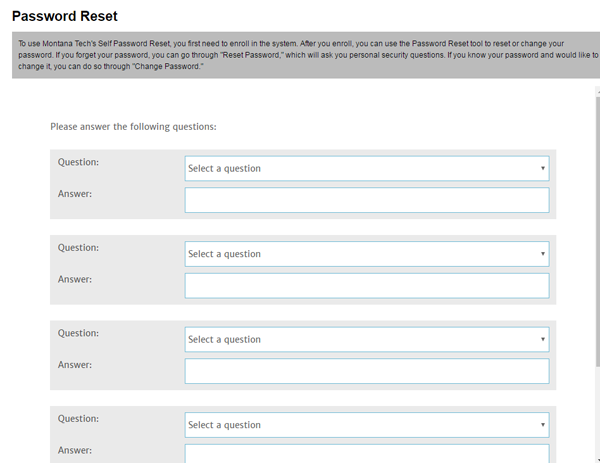 Choose security questions