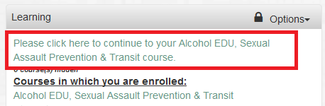 A new message is displayed at the top of the Learning Portlet if you are using a popup blocker.