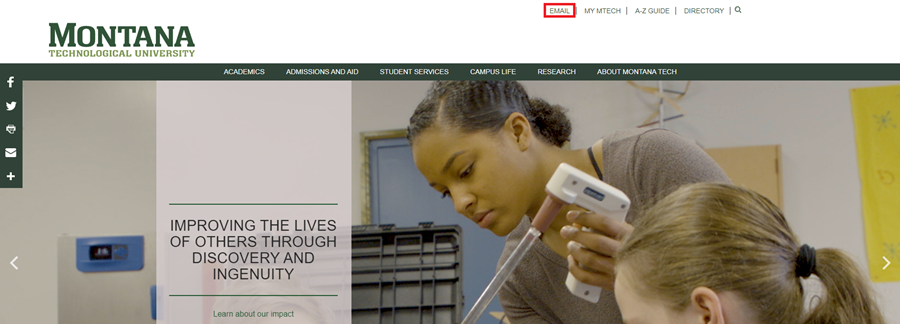 Montana Tech homepage with Email button highlighted.