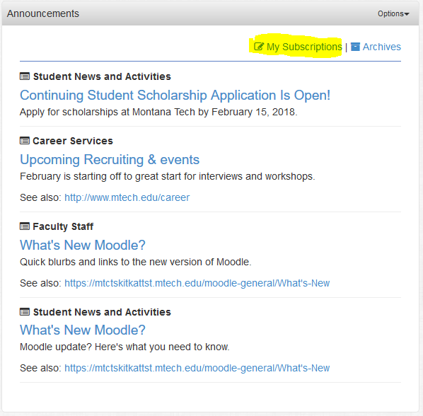 Use the my subscriptions link to manage which announcement you see.